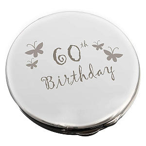 60th Birthday Engraved Compact Mirror