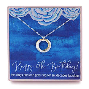 60th Six Ring Sterling Silver Necklace