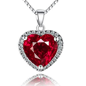 925 Sterling Silver Heart Ruby Necklace
