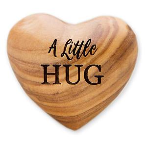 A Little Hug Olive Wood Heart