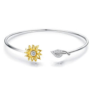 Adjustable Silver Bangle with Sunflower Embellishment