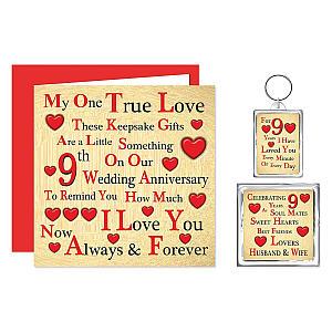 Anniversary Card, Keyring and Magnet Set