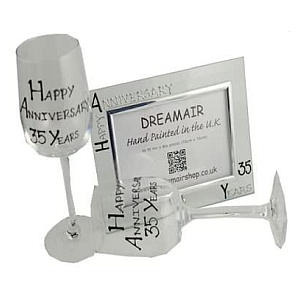 Anniversary Glass and Frame Gift Set