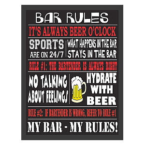 Bar Rules Plaque