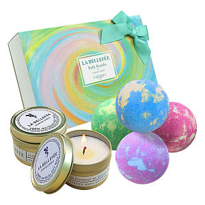 Bath Bomb and Scented Candle Set