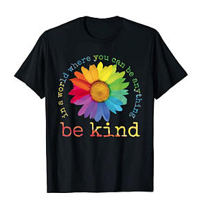 Be Kind T-Shirt with Sunflower