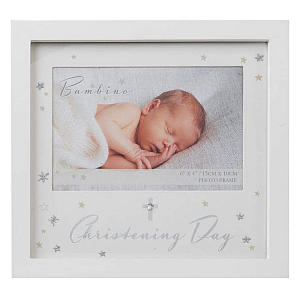 Christening Cross And Stars Photo Frame