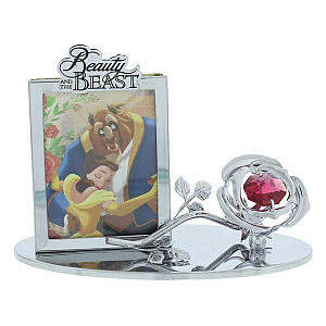 Chrome Plateed Photo Frame with Rose Ornament