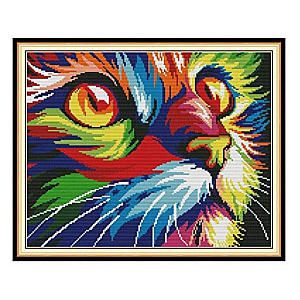 Colourful Cat Face Image Kit