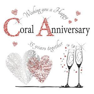 Coral Anniversary Card