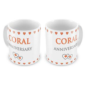 Coral Anniversary Mugs