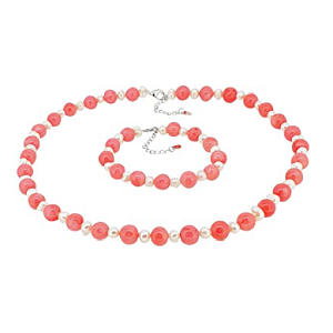 Coral Necklace and Bracelet