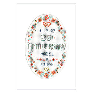 Cross Stitch Anniversary Card