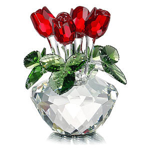 Crystal Glass Rose Figurine