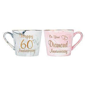 Diamond Anniversary Ceramic Matching Mugs