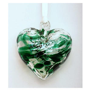 Emerald Coloured Glass Hanging Ornament