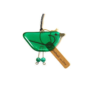 Emerald Green Glass Hanging Bird Ornament
