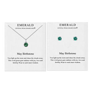 Emerald Necklace and Earrings Set