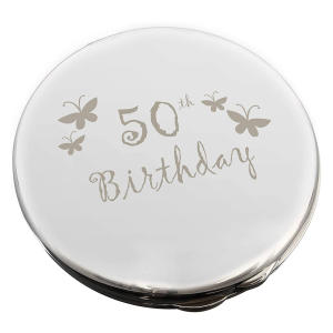 Engraved 50th Birthday Round Compact Mirror