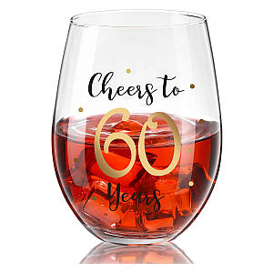 Engraved 60 Years Wine Glass