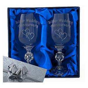 Engraved Crystal Wine Goblets