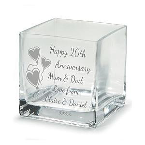 Engraved Square Glass Vase