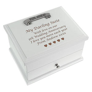 Engraved Wooden Jewellery Box