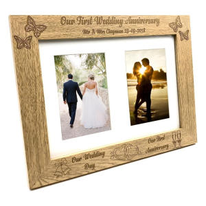 First Anniversary Double Wooden Photo Frame
