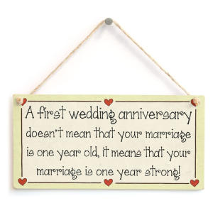 First Wedding Anniversary Hanging Sign