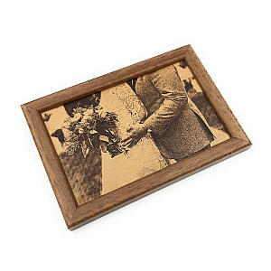 Framed Engraved Leather Photograph
