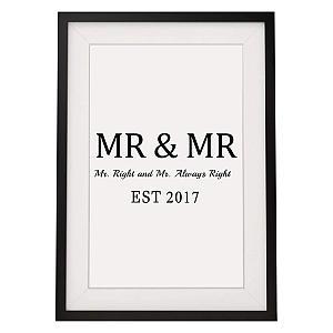 Framed Mr and Mrs Print