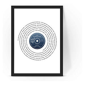Framed Personalised Vinyl Record Song Lyrics Art