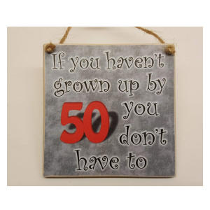 Funny 50 Wooden Hanging Plaque