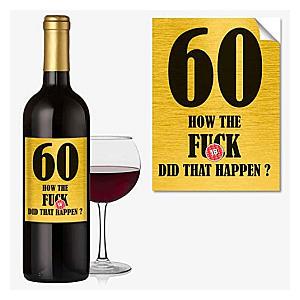 Funny 60th Wine Label