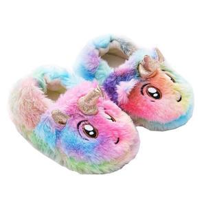 Girls Rainbow Unicorn Slippers