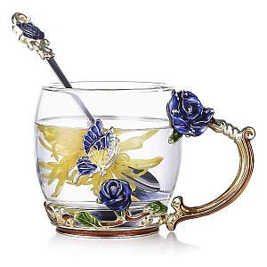 Glass Butterfly Flower Tea Cup