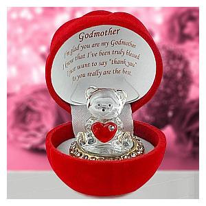 Glass Teddy Bear in Red Heart Case