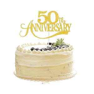 Glittery Gold Happy 50th Anniversary Cake Topper