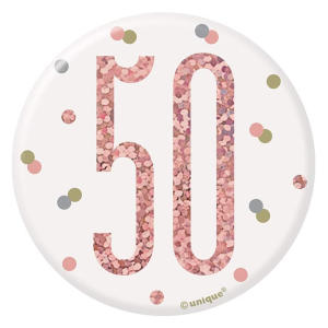 Glitz Rose Gold 50th Birthday Badge