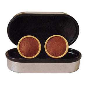 Gold Leather Cuff Links