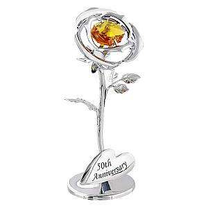 Golden Swarovski Crystal Glass Flower