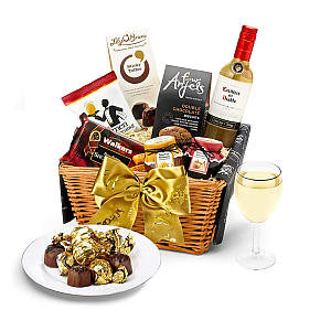Gourmet Food Hamper with White Wine