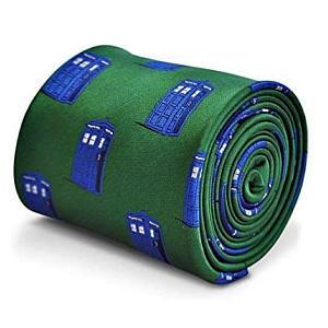 Green Men's Tie with Tardis Images