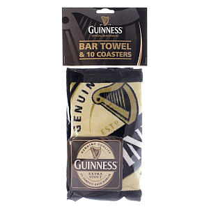 Guinness Bar Towel & Coaster Set