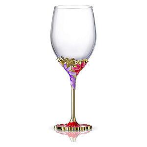 Handmade Painted Enamel Flower Wine Glass