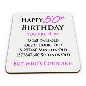 Happy 50th Birthday Drinks Coaster