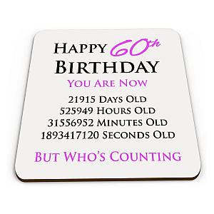 Happy 60th Birthday Drinks Coaster