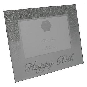 Happy 60th Silver Glitter Frame