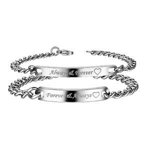 His N Hers Matching Metal Bracelets