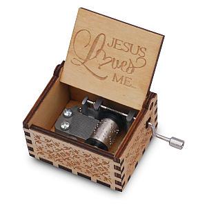 Jesus Loves Me Wood Music Box